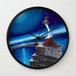 Ogden Point Beacon at Night Wall Clock