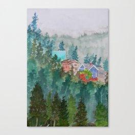 Misty Fog and Color over Ketchikan Alaska Canvas Print