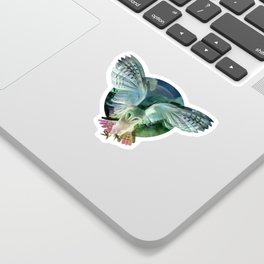 """Owl flight and spring night"" Sticker"