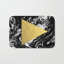 Layden - triangle black and gold marble trendy hipster gift idea cell phone case minimal abstract  Bath Mat