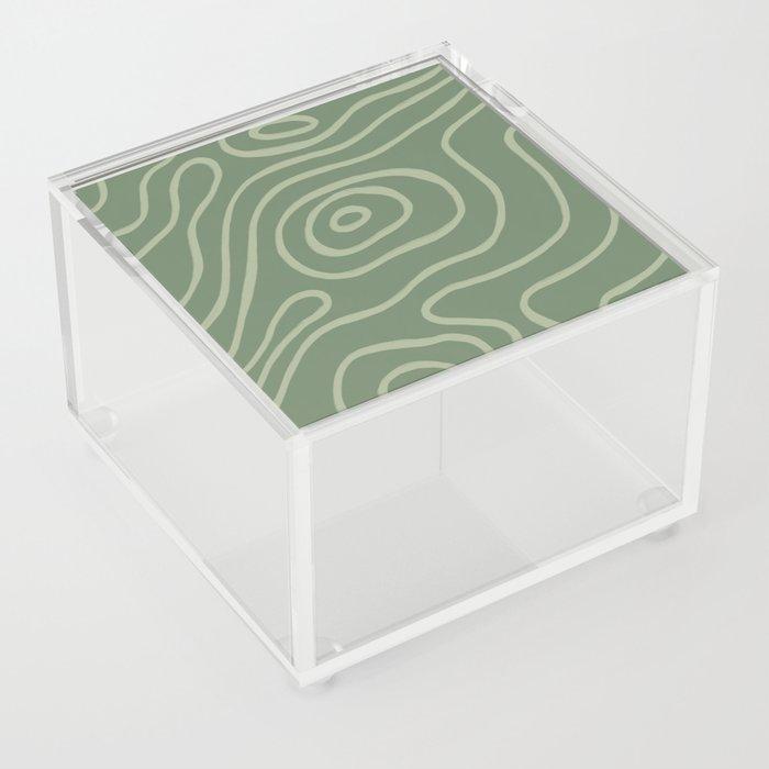 Topographic Map / Grayish Green Acrylic Box