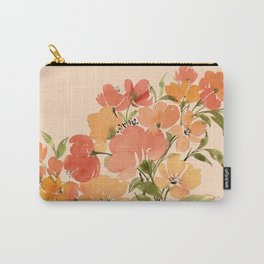 Spring floral bouquet with blush background Carry-All Pouch