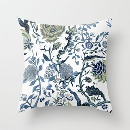 Blue vintage chinoiserie flora Throw Pillow