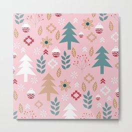 Cute Christmas in pink Metal Print