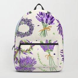 Modern ivory lavender purple vector floral pattern Backpack