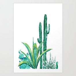 cactus jungle watercolor painting 2 Art Print