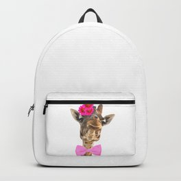 Giraffe funny animal illustration Backpack