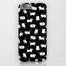 White cats on black Slim Case iPhone 6s