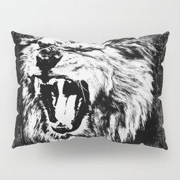 Black and White  Roaring Lion Digital Art Pillow Sham