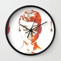 audrey hepburn Wall Clocks featuring Audrey Hepburn by Geryes