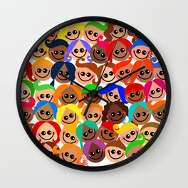 Happy Diverse Children Wall Clock
