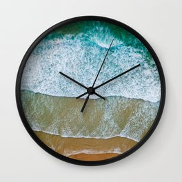 Ocean Waves Crushing On Beach, Drone Photography, Aerial Photo, Ocean And Beach Wall Art Print Decor Wall Clock