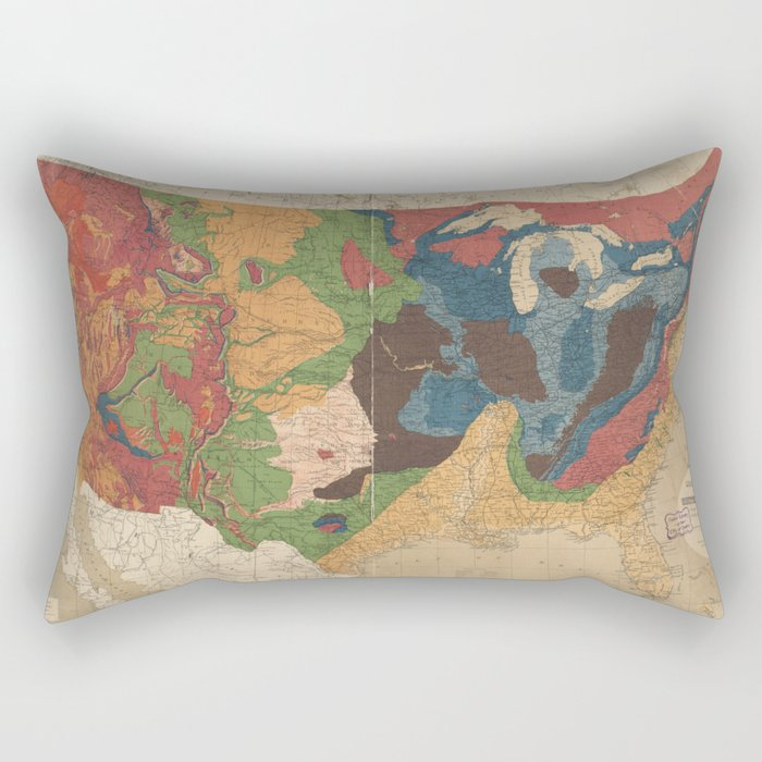 Vintage United States Geological Map (1872) Rectangular Pillow