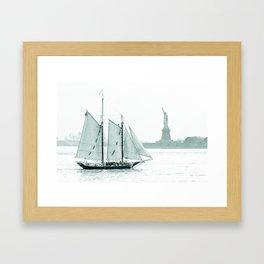 Statue of Liberty with Schooner Framed Art Print