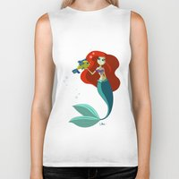 the little mermaid Biker Tanks featuring Little Mermaid by Kaori