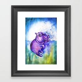Fiona the Hippo - Splashing around Framed Art Print