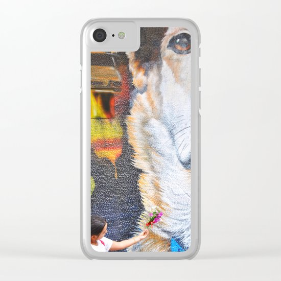 Few flowers as a tribute to the Loukanikos dog from Elisavet Clear iPhone Case