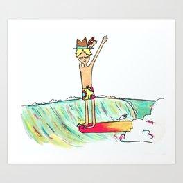 hang 10 surf dude Art Print