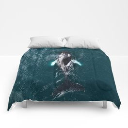 Humpback Whale in Iceland - Wildlife Photography Comforters