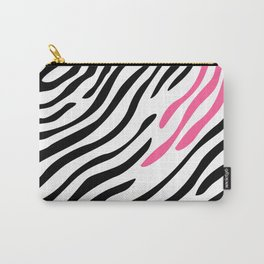 Zebra print. Pink Carry-All Pouch
