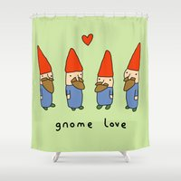 gnome Shower Curtains featuring Gnome Love by Sophie Corrigan