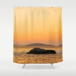 Beautiful Lakescape Yellow Orange Sunset Sky Shower Curtain