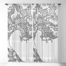 Zen Tree Rebirth White Right Half Sheer Curtain
