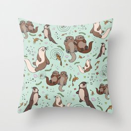 Sea Otters Throw Pillow