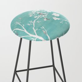 Chinoiserie Panels 1-2 White Scene on Teal Raw Silk - Casart Scenoiserie Collection Bar Stool