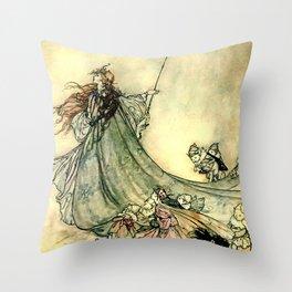 """""""Queen of the Fairies"""" by Arthur Rackham Midsummer's Night Throw Pillow"""