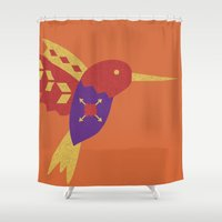 hummingbird Shower Curtains featuring Hummingbird by Claire Lordon
