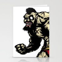 street fighter Stationery Cards featuring Bear Wrestler - Street Fighter by Peter Forsman