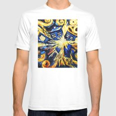 Tardis By Van Gogh - Doctor Who Mens Fitted Tee White LARGE