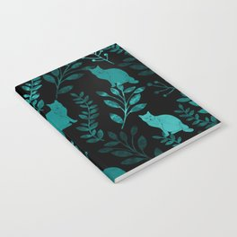 Watercolor Floral and Cat IV Notebook