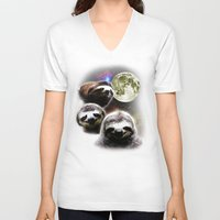 sloths V-neck T-shirts featuring Funny Space Sloths by robotface