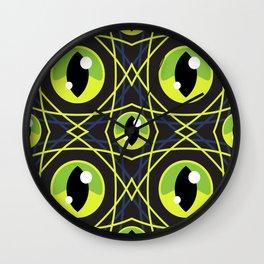 Halloween Green Eyes Wall Clock