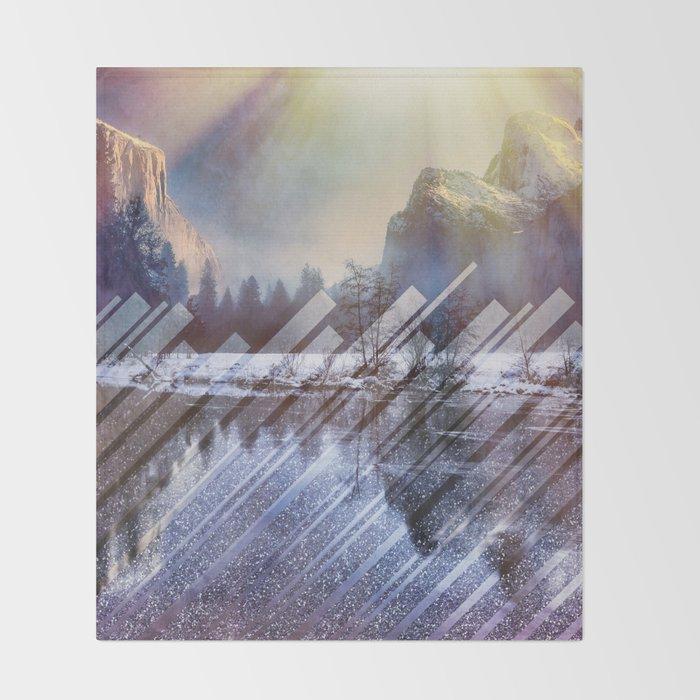 Winter Sun Rays Abstract Nature Throw Blanket
