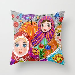 Pretty Ladies Throw Pillow