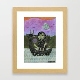 Girl in a Small Creature Boat Framed Art Print