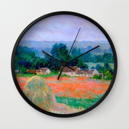 Claude Monet Impressionist Landscape Oil Painting Haystack at Giverny Wall Clock