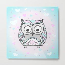 Cute Owl Bird Heart Pattern Vector Metal Print