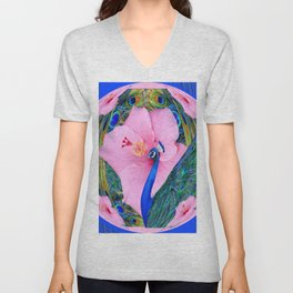 BLUE PINK HIBISCUS FLOWERS & BLUE-GREEN PEACOCK Unisex V-Neck