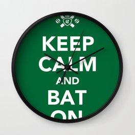 Keep calm and bat on. Wall Clock