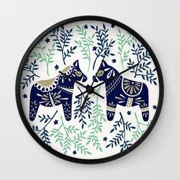 Swedish Dala Horse – Navy & Mint Palette Wall Clock