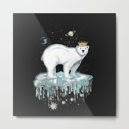 Polar bear with crown on ice floe Metal Print