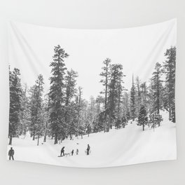 Sledding // Snowday Winter Sled Hill Black and White Landscape Photography Ski Vibes Wall Tapestry