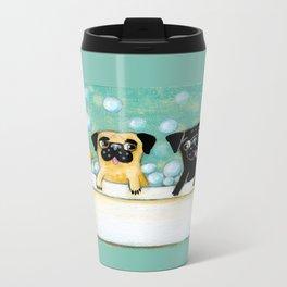 Pug Bath Time cute pug painting by TASCHA Metal Travel Mug