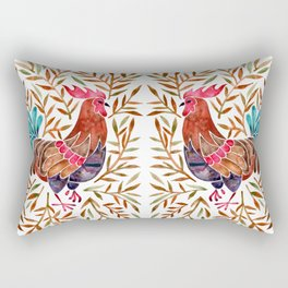 Le Coq – Watercolor Rooster with Sepia Leaves Rectangular Pillow