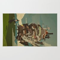 castle Area & Throw Rugs featuring Moving Castle by Danny Haas