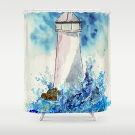 Lighttower vs Waves Shower Curtain